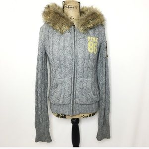 PINK Victoria's Secret Gray Knit Zip Up Sweater